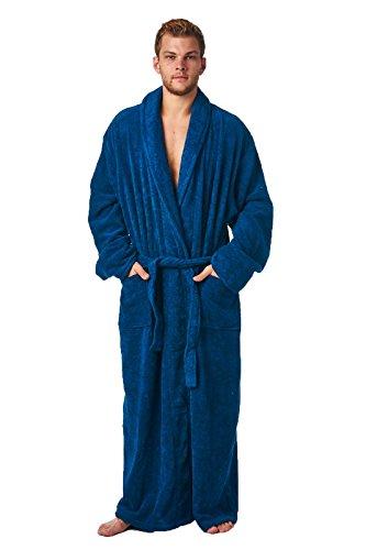 Stilvoller knöchellanger Bademantel mit Schalkragen, für Damen und Herren geeignet, aus 100 % türkischer Baumwolle Gr. M, navy (Unten Knöchel-länge Hohe)