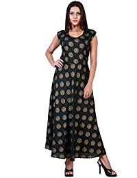 fabcolors Women s Rayon Gold Print Long One Piece Dress (Free Size ed14b22d7
