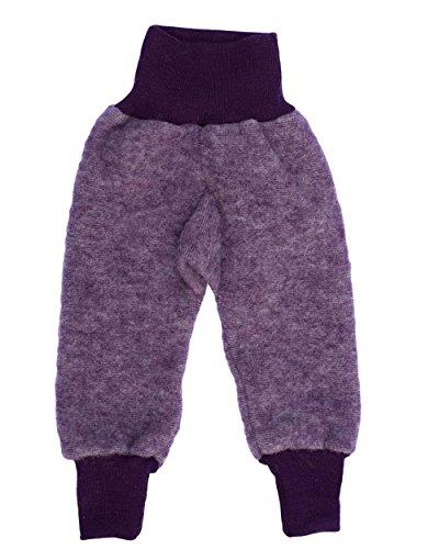 Baumwolle-seide-hosen (Cosilana Baby Hose mit Bund aus weichem Wollfleece, 60% Schurwolle kbT, 40% Baumwolle (KBA) (62/68, Lila-Melange))