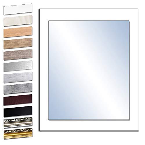 Bilderdepot24 Wandspiegel Spiegel Badspiegel Holzrahmen komplett mit Echtglas - WEIß - ca. 50x40 cm