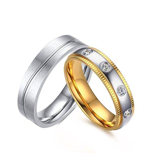 KNSAM - Edelstahl Paaringe für Damen und Herren, Verlobungsringe Hochzeit Zirkonia Damengr. 55 (17.5) & Herrengr. 68 (21.6)