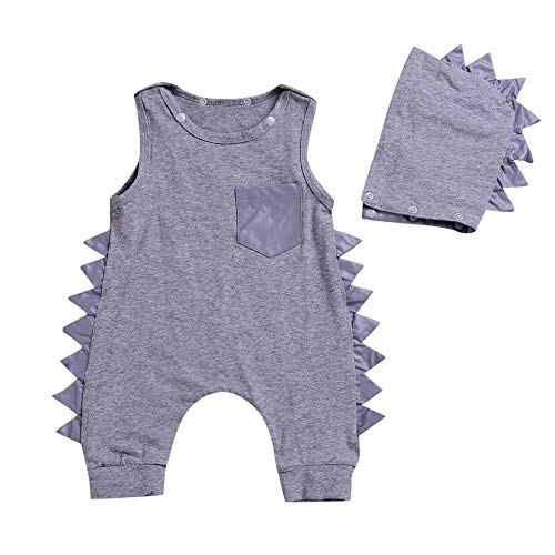 PLOT❤Baby Boys Girls Solid Dinosaur Romper Jumpsuit+Hat Outfits Clothes 0-3T