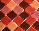 Restposten Fliesen Mosaik Mosaikfliese Glas Quadrat rot orange 8mm Neu #HO27