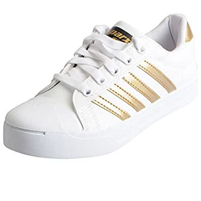 Sparx Women's White Golden Sneakers SL_111-37