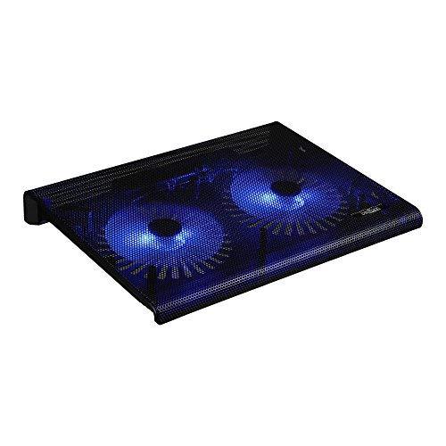 Cooler Kühl Pad für Laptop, Notebook und Konsolen - 2 Ventilatoren Lüfter und LED Beleuchtung (Schwarz)
