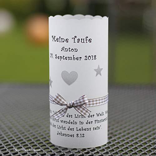 10 personalisierte Lichthüllen Teelichthüllen für Tischlicht Windlichter Tischdeko Taufe Kommunion Konfirmation grau Handarbeit binnbonn