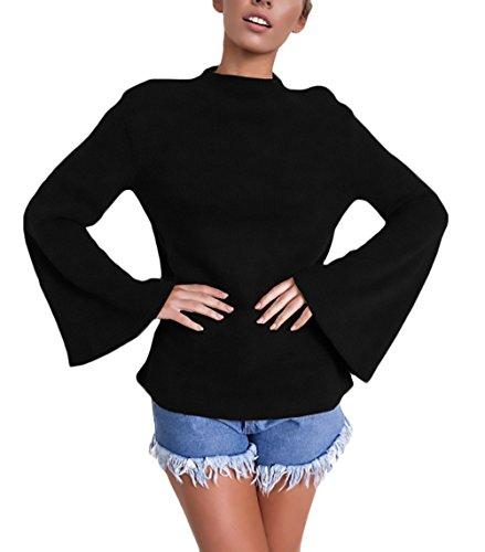 Donna Tops Eleganti Manica Lunga Maniche Tromba Slim Fit Autunno E Inverno Maglietta Rotondo Collo Casual T-Shirt Ragazze Blusa Moda Classico Partito Camicette Puro Colore Nero