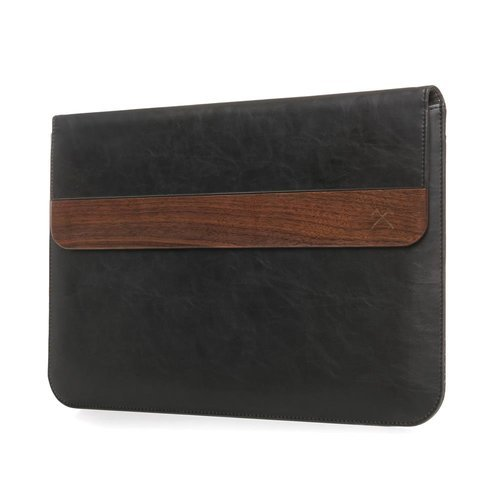 """Woodcessories - EcoPouch - Wooden MacBook Bag - Premium Design Case, Pouch for all MacBook & various Notebooks made of real, FSC certified wood (MacBook 11-13"""", Walnut / Black Leather)"""