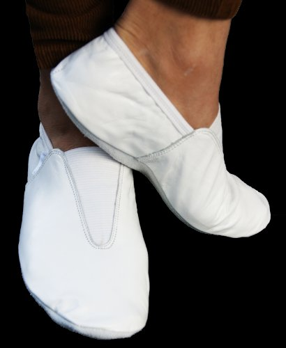 Gymnastik- Tanzschuhe, Leder, für drinnen und draußen, alle Größen, Weiß / Schwarz Weiß - weiß