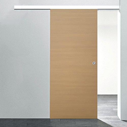inova Holz-Schiebetür 880x2035mm Pinie Zimmertür Innentür Komplettset mit Laufschiene & Holztür, Griffmuschel