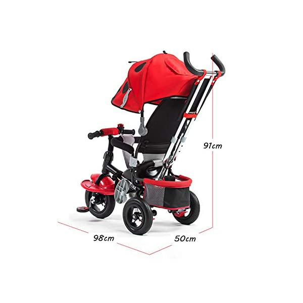 4 In 1 Childrens Tricycles 10 Months To 5 Years Easy To Assemble 3-Point Safety Belt Kids Tricycle Folding Sun Canopy Adjustable Handle Bar Blockable Rear Wheels Child Trike Maximum Weight 25 Kg,Red BGHKFF ★Material: steel + ABS plastic, suitable for children from 10 months to 5 years old, the maximum weight is 25 kg ★ 4 in 1 multi-function: can be converted into a stroller and a tricycle. Remove the hand putter and awning as a tricycle. ★Scientific design features: front footrest, rear storage basket, no need to inflate titanium empty wheel 5
