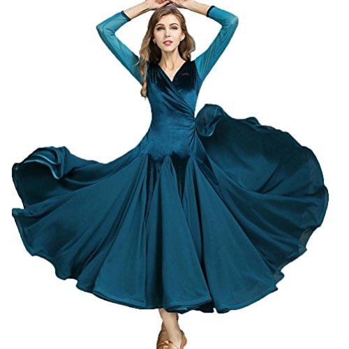 MoLiYanZi V-Ausschnitt Samt Walzer Tanz-Outfit Für Frauen Lange Ärmel Mädchen Ballsaal Tanzkleider Performance Kostüm, Blue, L