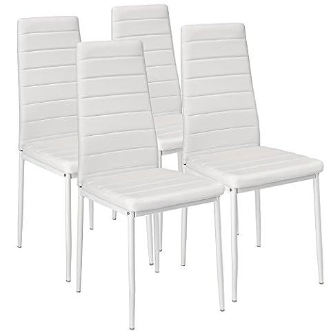 TecTake Lot de 4 chaise de salle à manger 41x45x98,5cm blanc
