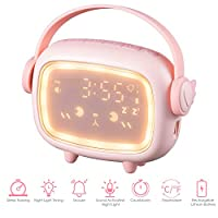 Banne Cute Alarm Clock for Kids OK to Wake Sound Activated Alarm Clock Rechargeable with Night Light Tempterature 6 Ringtone Snooze Sleep Traniner