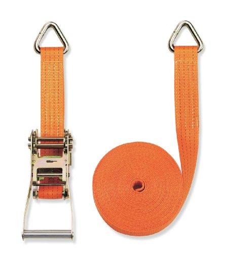 Braun Spanngurt 4000 daN, zweiteilig, Farbe orange, 8 m Länge, 50 mm Bandbreite, mit Ratsche und Triangel