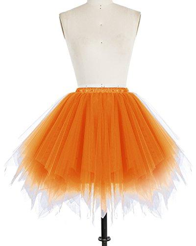 Bridesmay Donna Breve Partito Tutu Vintage Ballerina Gonna Cosplay Sottogonne Orange