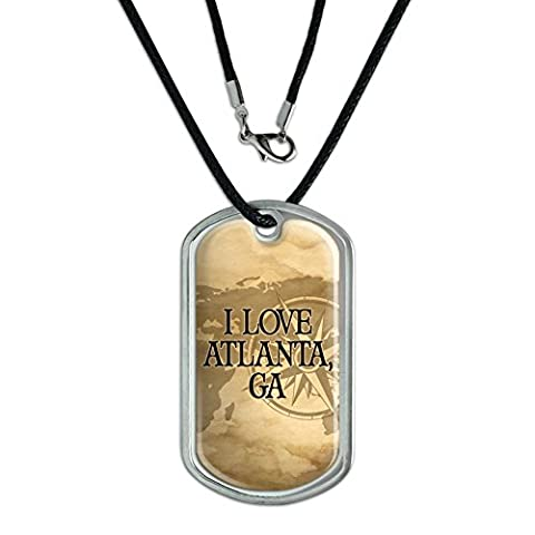 Dog Tag Pendant Necklace Cord City State Ab-Bu - Atlanta