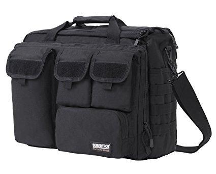 Seibertron Pro-Multifunktions Damen Herren militärische Taktische Tactical Außen Umhängetasche Schultertasche Messenger Bag Handtaschen-Aktenkoffer Notebook Pack für 14,1Zoll Laptop Computer Black -