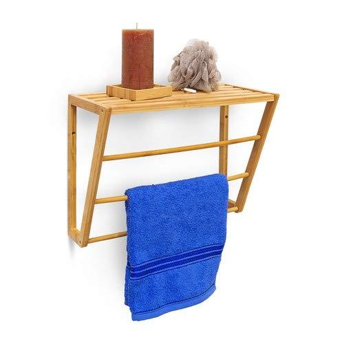 Bambus-wand-handtuchhalter (Relaxdays Wandhandtuchhalter Bambus mit Ablage HBT 30 x 42 x 20 cm Handtuchhalter zur Wandmontage mit 3 Handtuchstangen kleines Badregal aus Holz als Bambusregal oder Wandgarderobe, Natur)
