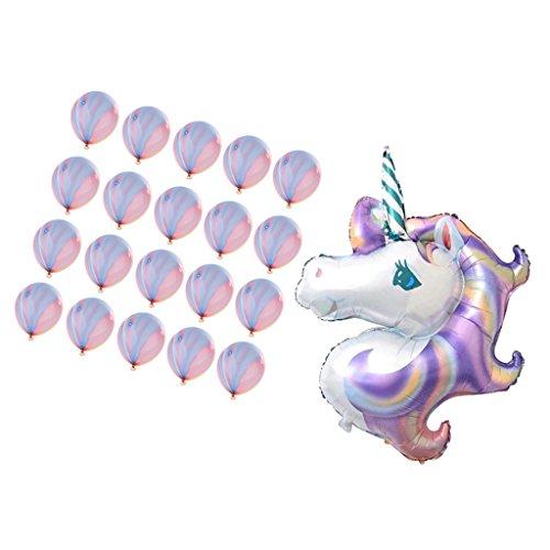 MagiDeal Globo Grande Unicornio Papel de Aluminio de Látex Ágata para Cumpleaños de Niños Decoración de Fiesta