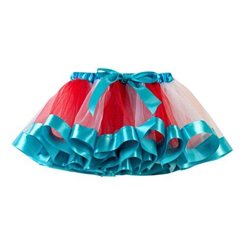 Mädchen Röcke, Longra Kinder Regenbogen Tüllrock Tanzkleid Ballettkleid Ballettrock mit Bow-Knot Mädchen Tütü Petticoat Unterkleid Kurz Miniröcke Festliche Party-Abendkleid (Blue, 100-120CM 4Jahre)