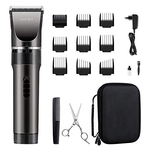 Haarschneidemaschine Profi Männer Haarschneider für Akku-und Netzbetrieb, 35 Längeneinstellungen, 2000 mAh Lithiumbatterie, Bartschneider Langhaarschneider (MEHRWEG) WONER