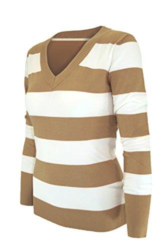 2luv Damen Long Sleeve V-Neck Cardigan Pullover (Cardigan Golf Pullover Style)