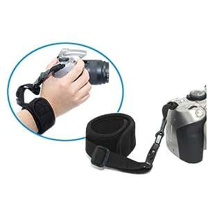 Dragonne néoprène noire Kaavie pour appareils photo SLR et DSLR - par exemple pour Canon EOS 1000D 500D 450D 50D, 40D, Nikon D5000 D3000 D90, Sony Alpha A900 A850 A550 A500 etc.