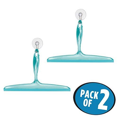 Foto de mDesign Juego de 2 rasquetas limpiacristales para mamparas de ducha – De plástico y con ventosa – Eficaces utensilios para limpiar cristales, azulejos, ventanas o mamparas de baño – azul