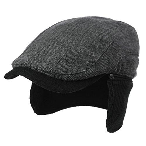 SIGGI Herren warme Schirmmütze mit Ohrenschutz Winter Earflap cap Schwarz M Hat Earflap Cap