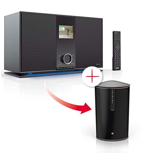 Hama Internetradio mit 2.1 Soundsystem, Spotify und DAB+ (Multiroom-fähig mit kostenfreier UNDOK App) + Hama WLAN-Lautsprecher IR80MBT (Multiroom-Erweiterung, Musik-Streaming, 30W Speaker)