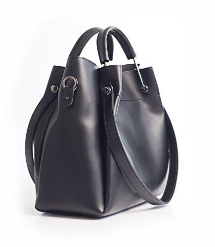 Handtasche, Henkeltasche, Schultertasche (Bag in Bag) für Damen in Schwarz. Jakquzel Luxury Collection 2018