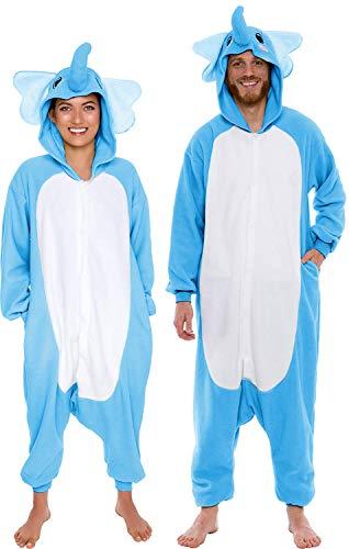 (Memoryee Elefant Tier Cosplay Kostüm Erwachsene Pyjamas Plüsch Kostüm Idee/Blau/M)