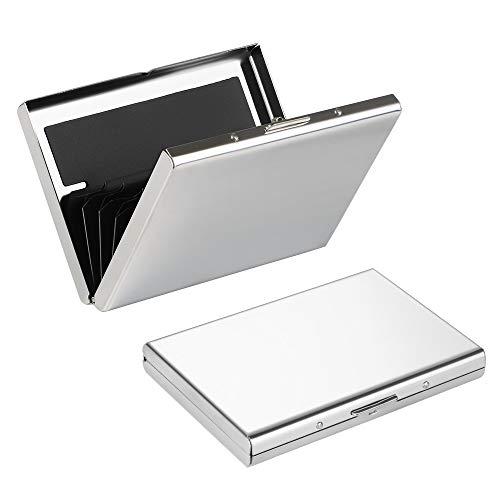 Obtén esta funda para tarjetas y mantén tus tarjetasdesplegada y enderezadas.6 bolsillos extensibles,carcasa externa de aluminio, plástico ABS Interior; plástico PVC Divisor.  Protege tus cartas limpias y afuera de daños,el diseño elegante hace su vi...