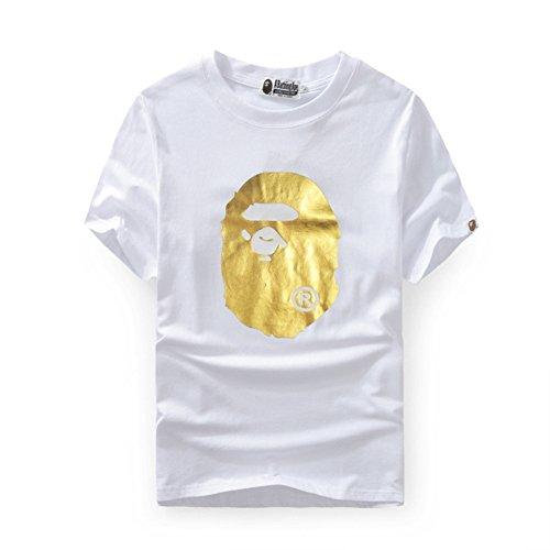 BOMOVO Herren BAPE Herren T-Shirt Basic - Slim Fit Weiß