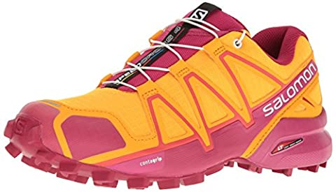 Salomon Women's Speedcross 4 Trail Running Shoe, Red, Synthetic/Textile, Bright Marigold/Sangria/Rose Violet, 5.5