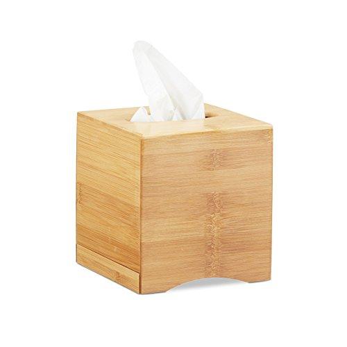 Relaxdays Kosmetiktücherbox quadratisch, Taschentuchbox Holz, Kosmetikbox Bambus, HxBxT: 15,5 x 14,5 x 14,5 cm, natur