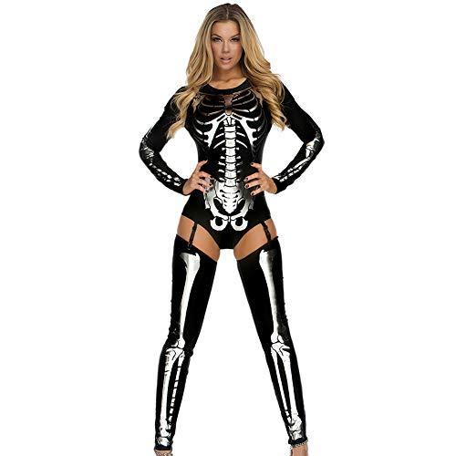 (NFY Halloween Damen Jumpsuit Skelett Digitaldruck Kostüm Erotische Kleidunggeeignet Kleiderparty Fasching Karneval)