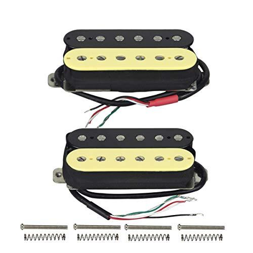 FLEOR Double Coil Humbucker Alnico 5Magnet Gitarre Humbucker Tonabnehmer für E-Gitarre Teile Ersatz Neck+Bridge zebra (Single-coil-tonabnehmer Emg)