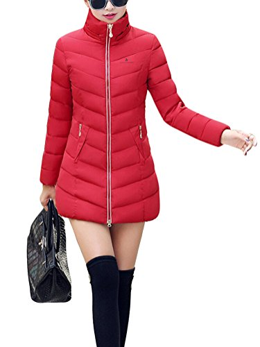 SMITHROAD Damen Mantel Hüftlang mit Abnehmbarer Kunstpelzkapuze Outwear Wintermantel Elegant Regular Fit in 8 Farben Rot