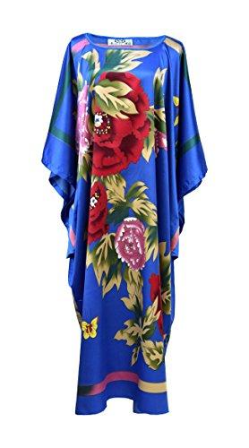 Robe d'intérieur kimono femme - robe de chambre style boubou satiné Bleu roy