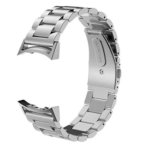 SUNDAREE Cinturino Gear S2 Sport,Cinturini di Ricambio Acciaio Strap Wrist Band Orologio Sostituzione Cinghia di Polso con Il Link Metallico per Samsung Gear S2 Sport SM-R720/SM-R730(Silver Metal)
