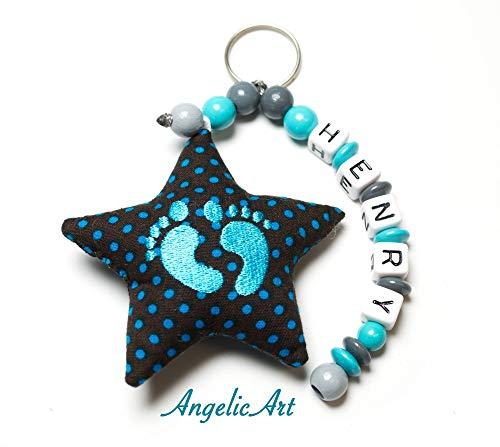 AngelicArt Namenskette/Schlüsselanhänger mit Namen, personalisiert, Verschiedene Modelle für Schultaschen, Kita-/Wickeltaschen für Babys und Kinder (grau, türkis, Füßchen)