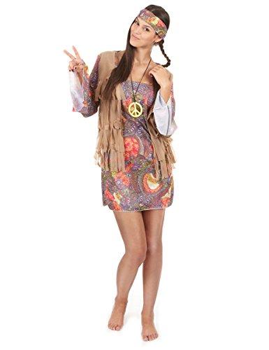 Buntes Hippie-Kostüm für Damen - Kostüm Hippie Weste