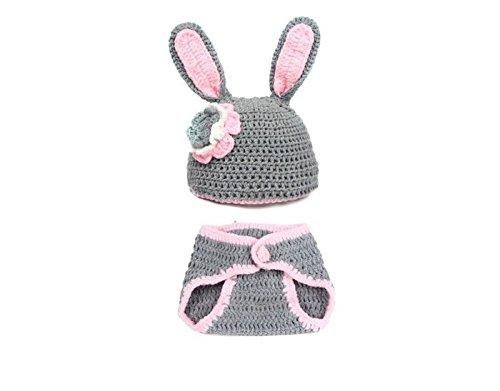 Primi bebé Lovely gris conejo estilo gorro de punto y pequeños pantalones conjunto disfraz fotografía ropa