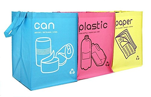 Borse per raccolta differenziata dei rifiuti, impermeabili, contenitori a compartimento con manici