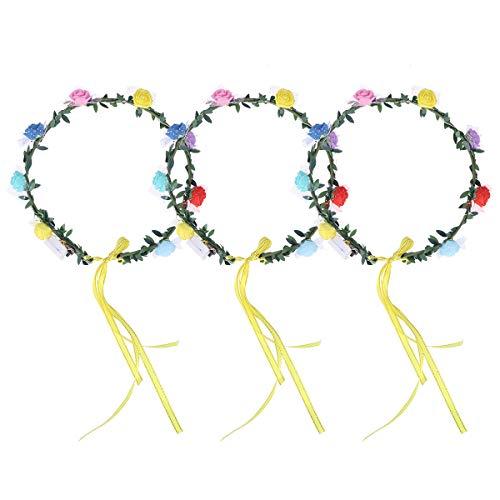 Amosfun 3pcs LED leuchten Blume Stirnbänder Floral Crown Haarkranz (mit Knopfbatterie)