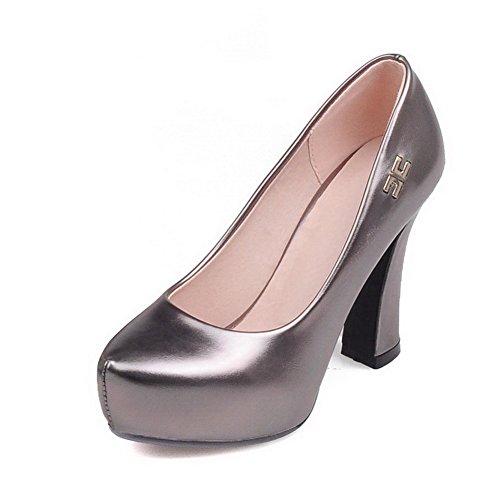 AllhqFashion Damen Rund Zehe Hoher Absatz Weiches Material Rein Ziehen Auf Pumps Schuhe Grau