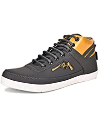 Essence Men's Grey Gold Gun Style Casual Shoes