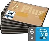 RFID Blocker Schutzhüllen | TÜV | Kunststoff | transparent | 6 Stück NFC Schutzhülle | Kreditkartenhülle abgeschirmt